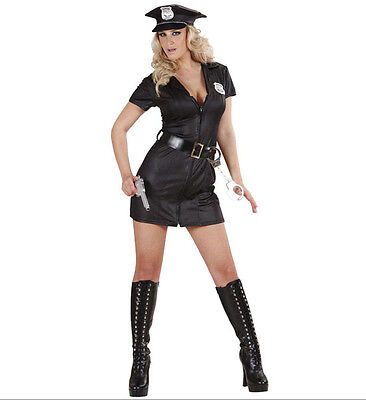 POLICE OFFICER WOMAN GIRL COSTUME OUTFIT COP BLACK FEMALE DRESS](Female Cop Outfit)
