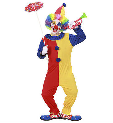 CHILDREN'S CLOWN FANCY DRESS COSTUME OUTFIT JESTER SIZES S,M,L AGES 5-13
