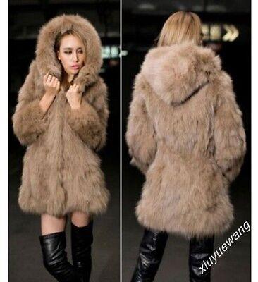 New Winter Womens Warming Thicken Faux Fur Hooded Long Coat Outwear Jacket Size