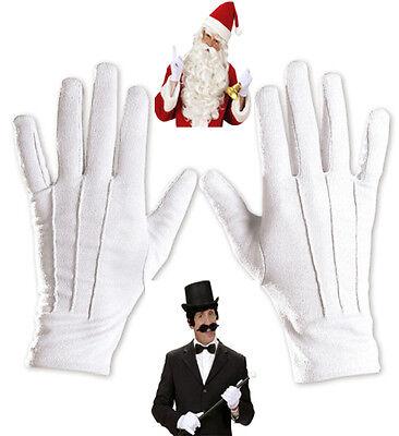 Handschuhe Fingerhandschuhe weiß, Zauberer, Magier, Clown,Weihnachtsmann ()