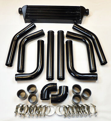 Universal High Quality All Black Intercooler 25 8 piece Piping Kit Aluminum