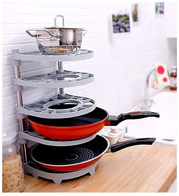 Organizer Stand Holder Frying Pan Pot Rack Kitchen Home Bar Sink Muitl Use