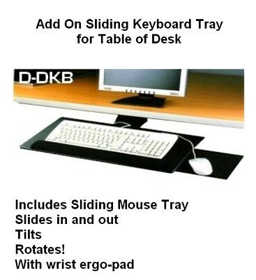 D-kb-dk Slidable Underdesk Ergonomic Keyboard Tray Shelf Wmouse Tray Platform