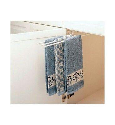 Rev-A-Shelf 3-Prong Pullout Towel Bar Sink Base Organizers, White
