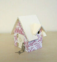 Miniature Cottage Piggy Bank with Rose Toile and Pearls