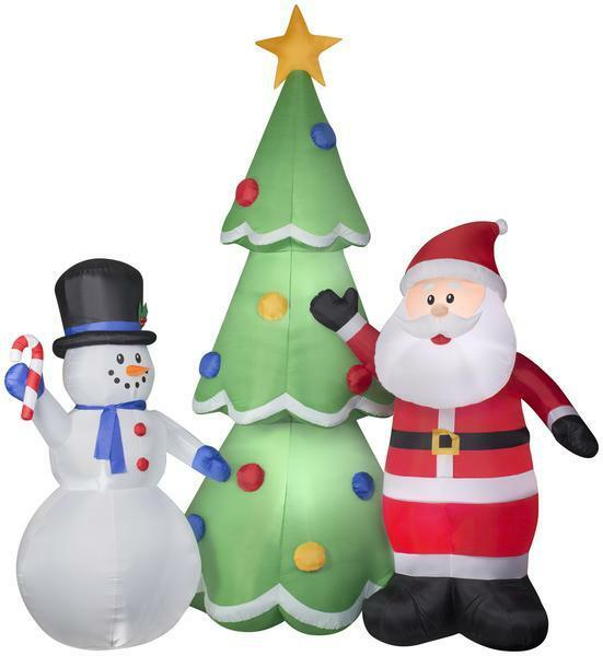 Gemmy 13' Airblown Santa And Snowman W/ Tree Christmas Inflatable