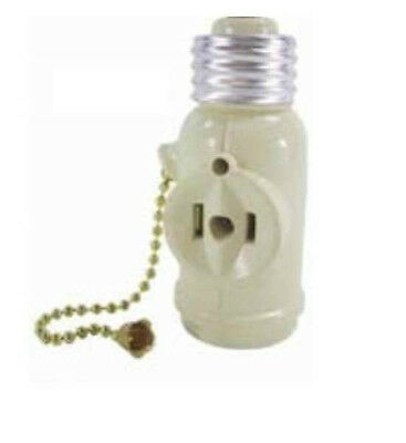 Light Bulb Switch and Socket with Pull Chain and 2 Outlets Ivory Bulb Pull Chain