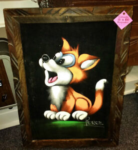 Mexican Black Velvet Dog Paintings signed by Perez
