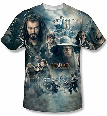 The Hobbit Epic Poster Sublimation Front Print T-Shirt Size Small, NEW UNWORN