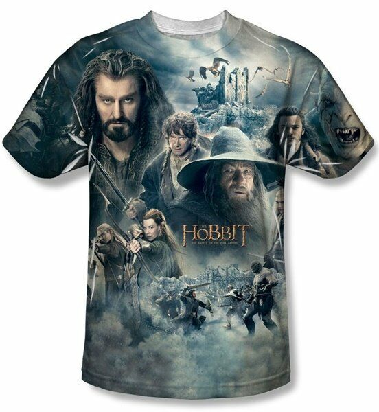 The Hobbit Epic Poster Sublimation Front Print T-Shirt Size XL, NEW UNWORN