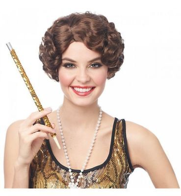1920s Style Wigs (1920's-30's Flapper Wig Short Finger Wave Style Synthetic Hair Costume)