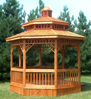 12 ft Octagon Gazebo with 2nd Roof on your lawn for summer