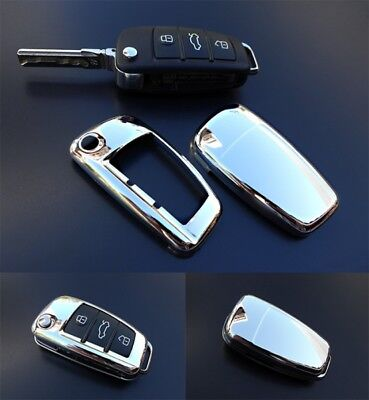 Audi CHROME Remote Flip Key Cover Case Skin Shell Cap Fob Protection Bag Hull
