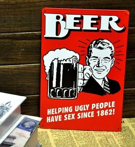 BEER-Helping-Ugly-People-Metal-Tin-Sign-BAR-CLUB-PUB-HOME-Vintage-Wall-Decor