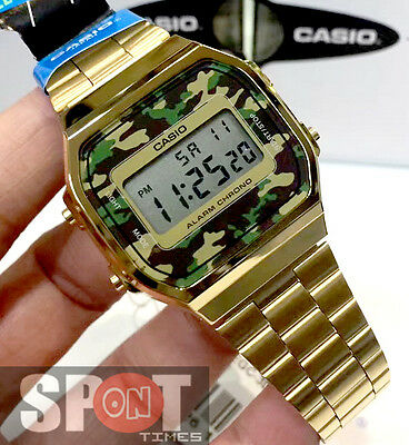 147d2443bf6a Casio Retro Camouflage Gold Tone Stainless Steel Watch A168WEGC-3
