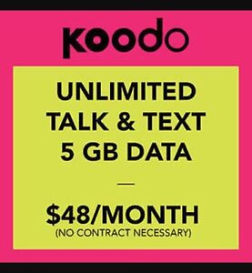 Get the Koodo $48 unlimited cell phone plan with 5g data!