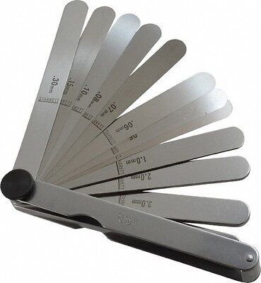 Starrett 13 Piece 0.04 To 5mm Parallel Feeler Gage Set 4-12 Long X 12 Wi...