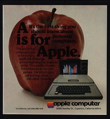 1978 APPLE II Personal Computer - A Is For Apple - STEVE JOBS -N MINT VINTAGE AD