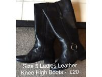 Black Leather Boots - size 5