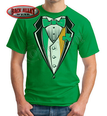 IRISH Flag Tuxedo T-SHIRT ~ FUN Tux Monkey Suit St Patricks Day Ireland DRUNK - Irish Tuxedo T-shirt