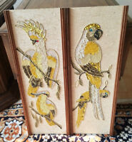 Vintage 1960's Gravel & Stone Wall Art Panels-Exotic Birds