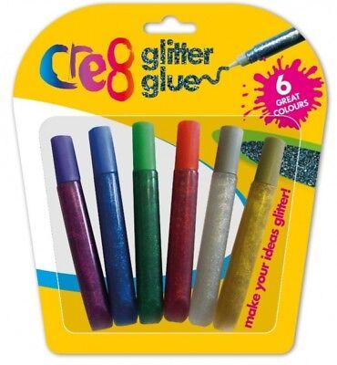 GLITTER GLUE PENS 6 ASSORTED COLOURS KIDS ART & CRAFT CARDS MAKING (2442)