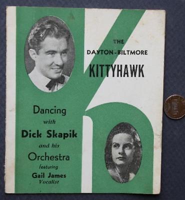 1940s WWII Era Dayton,Ohio Biltmore Hotel Kitty Hawk Room Big Band program-menu!