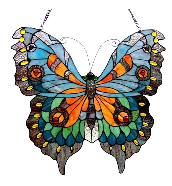 Tiffany Style Butterfly Design Stained Glass Window Panel ~LAST ONE THIS PRICE~
