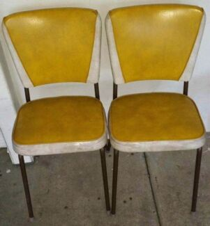 2 a pair retro yellow dining chairs wingback dinette retro 50s Goodna Ipswich City Preview