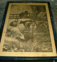 Country Farm scenes from 1889 - 2 different,ready to display