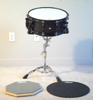 Mapex MPX Maple Snare + Stand + two Evans Practice Pads