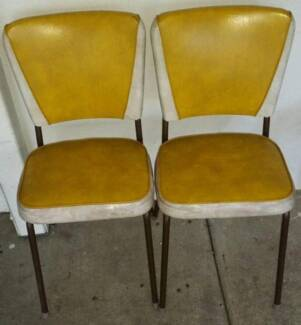 bright yellow vintage retro dining chairs.metal vinyl Goodna Ipswich City Preview