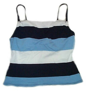 Blue White Striped Tankini Cami Top - Size 12
