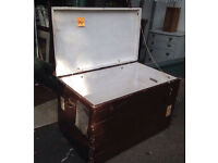 Large Antique Wooden Trunk/ Coffer Box