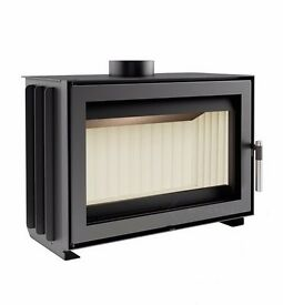 Modern cassette insert wood burning stove rated at 7Kw, output range 3.3-9.9 Kw