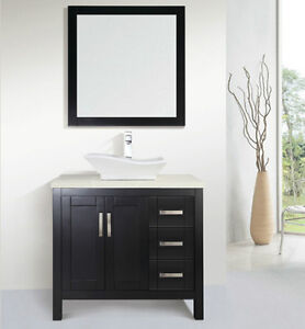 """36"""" Solid Wood Bathroom Vanity with Mirror and Faucet"""