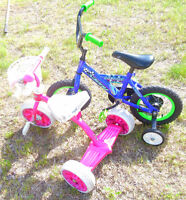 Kid`s 12 inch Savoy Dirt Buster bike and girl`s trycicle