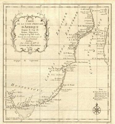 'Coste Orientale d'Afrique…' South Africa. Mozambique channel. BELLIN 1746 map