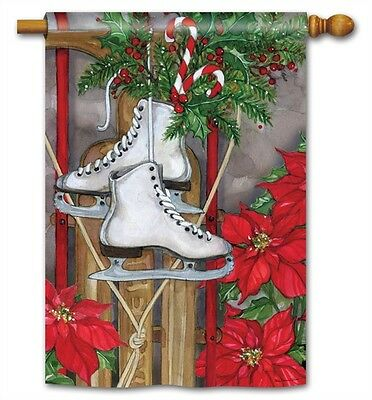 Flag Sled & Skates Winter Large Garden Yard Patio House Banner BreezeArt 28 x 40