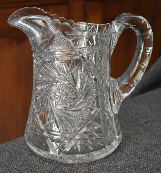 GORGEOUS ETCHED CUT GLASS PINWHEEL MOTIF HANDLED PITCHER