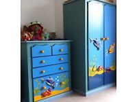 5 piece children hand-carved and painted furniture set