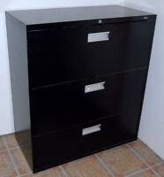 Lateral three drawer legal file cabinet