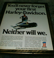 4 diff Harley Davidson snowmobile mounted ads/pics - mid 1970's