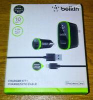 Chargeur Belkin maison/auto + cable pour iPhone 5/5s - Neuf