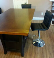 Dining Table - Island Style w/ storage & 2 adjustable chairs