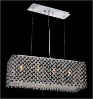 CONTEMPORARY K9 Black and Clear Crystal Chandelier with Chrome