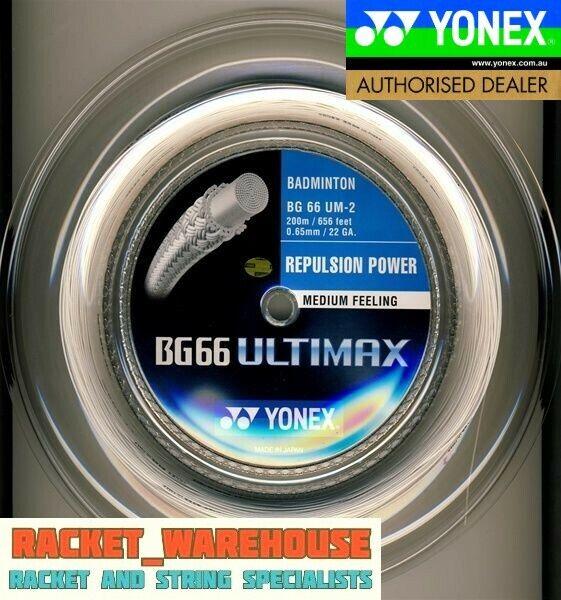 YONEX BG66 ULTIMAX 200M COIL BADMINTON RACKET STRING WHITE
