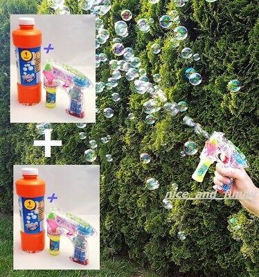 2x Seifenblasen-Pistole Bubble-Gun Licht LED mit Flüssigkeit + 2L Lauge zusätz. ()