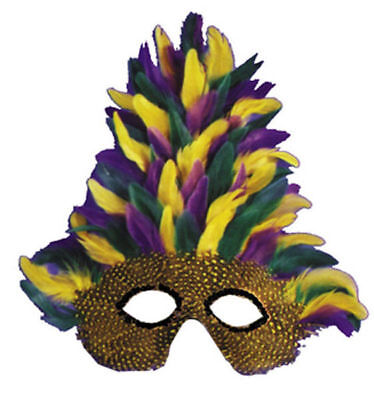 Morris Costume Very Nice Quality Elastic Mardi Gras Tall Feather Face Mask. TI53 - Ti Halloween Costume