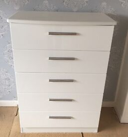 5-Drawer White Gloss Chest of Drawers